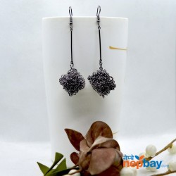 Gunmetal Black Clustered Cubic Drop Earrings