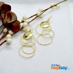 Golden/Black Round Looped Dangling Earrings