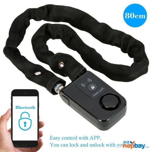Smart Chain Lock Bluetooth Motor Bike Anti Theft Alarm Keyless Phone App Control