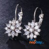 CZ Stone Studded Flower Designed Lever Back Earrings (Silver)