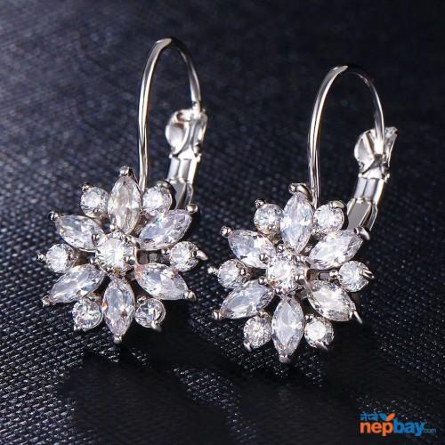 CZ Stone Studded Flower Designed Lever Back Earrings (Silver)