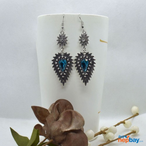 OceanBlue Stone Studded Dot Patterned Leaf Designed Earrings