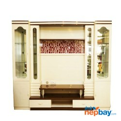 "White Large TV Cabinet With Show Cases 8' x 1'6"" x 7'2"""