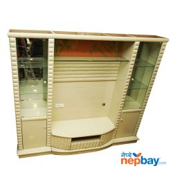 """White Large TV Cabinet With Show Cases 8' x 1'6"""" x 6'6"""""""