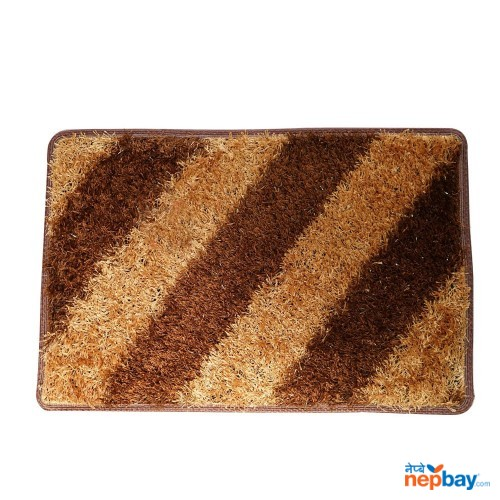 "Light Brown & Dark Brown Striped Doormat 24"" x 16"""