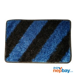 "Blue & Black Striped Doormat 24"" x 16"""