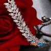 CZ Stone Studded Leaf Designed Bracelet with Adjustable Strap