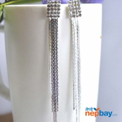 Silver Black Stone Studded Metallic Tassel Dangling Earrings