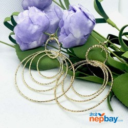 Golden Layered Loops Lightweight Dangling Earrings