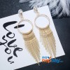Golden Boho Stone Top Metallic Fringe Drop Earrings