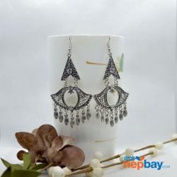 Silver/White Stone Studded Chandelier Dangling Earrings
