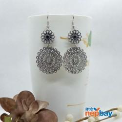 Silver Stone Studded Mandala Patterned Round Drop Earrings
