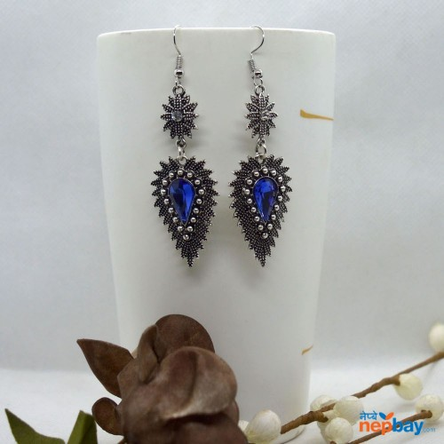 Blue Stone Studded Dot Patterned Leaf Designed Earrings