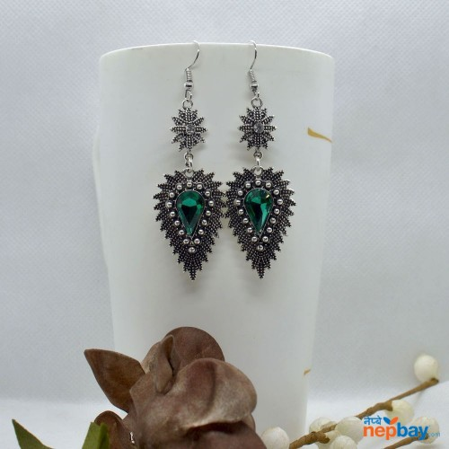 Green Stone Studded Dot Patterned Leaf Designed Earrings