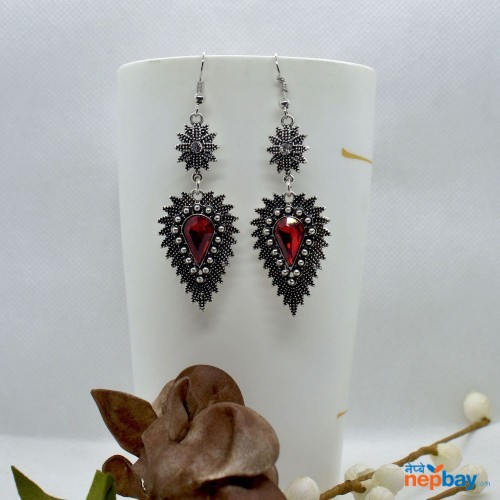 Red Stone Studded Dot Patterned Leaf Designed Earrings