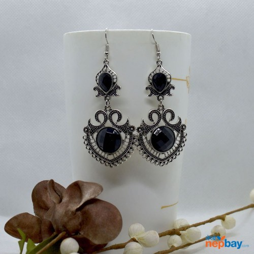 Black Stone Studded Tribal Designed Earrings