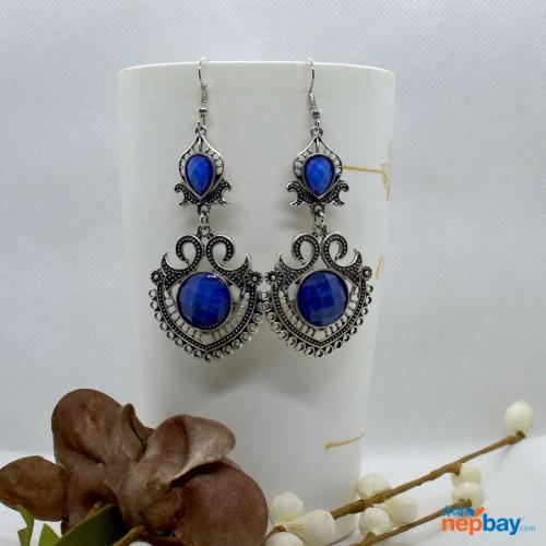 Blue Stone Studded Tribal Designed Earrings