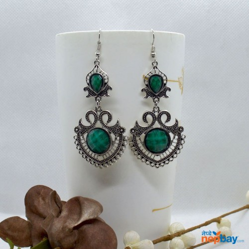 Green Stone Studded Tribal Designed Earrings