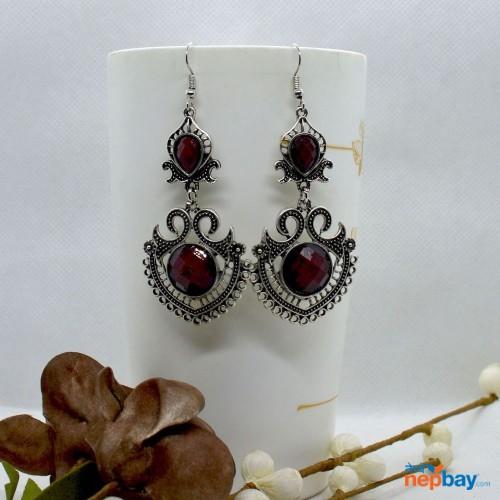 Maroon Stone Studded Tribal Designed Earrings