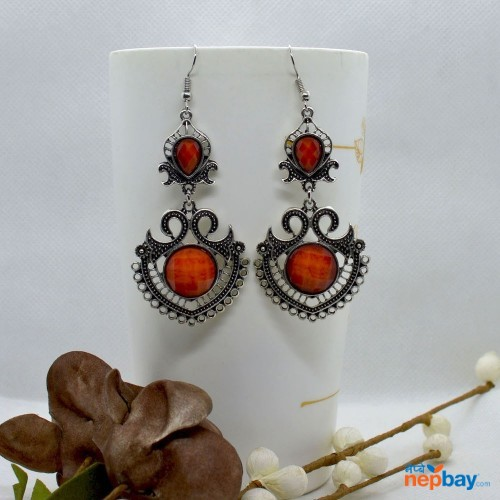 Orange Stone Studded Tribal Designed Earrings
