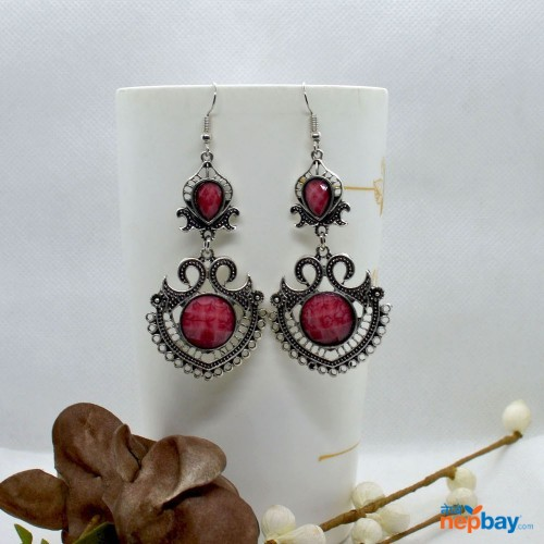 Pink Stone Studded Tribal Designed Earrings