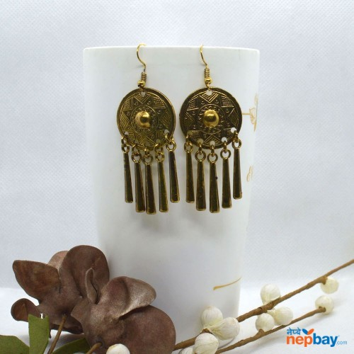 Golden Tribal Designed Tasseled Earrings