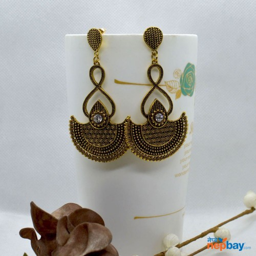 Golden Antique Tribal Designed Dangling Earrings