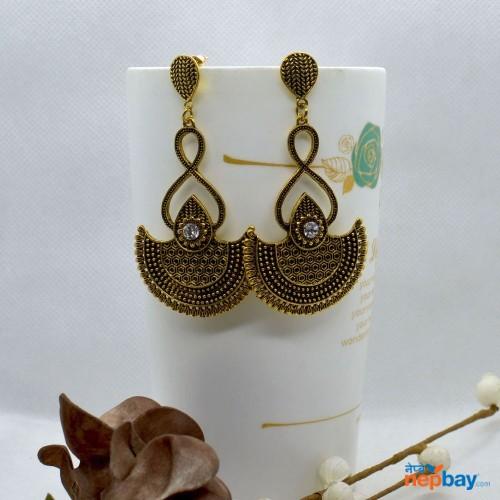 Golden Antique Tribal Designed Dangling Earrings