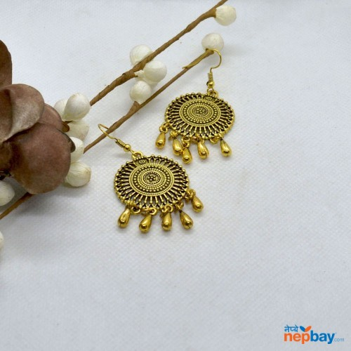 Golden Round Mandala Patterned Tasseled Earrings