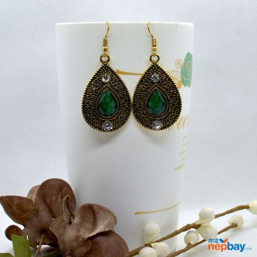 Golden/Green Drop Designed Stone Studded Earrings