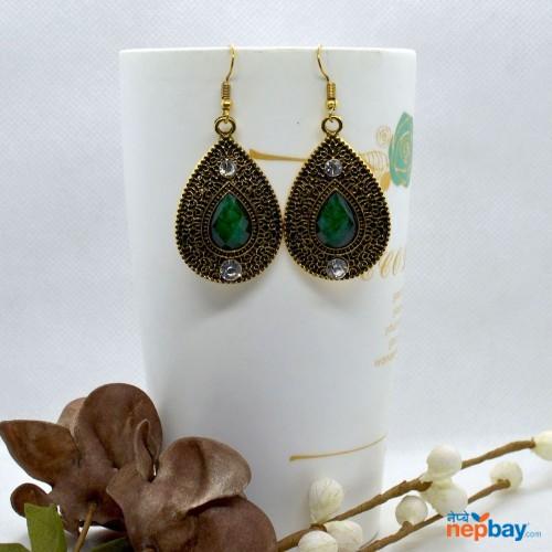 Golden/Green Drop Designed Stone Studded Earrings
