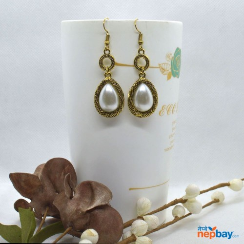 Golden/White Drop Twirl Designed Faux Pearl Dangling Earrings