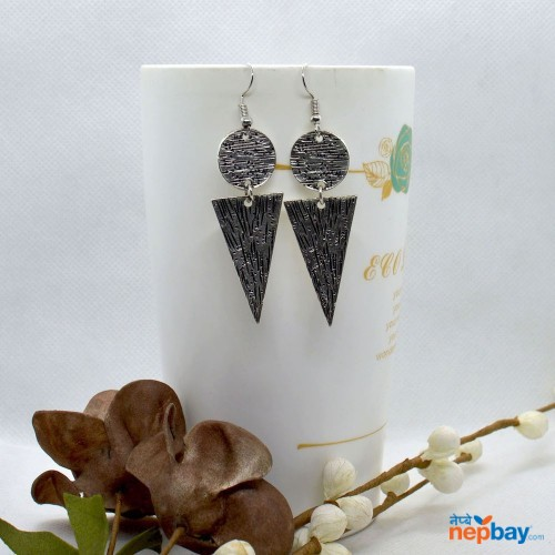 Silver Scratch Patterned Boho Style Earrings