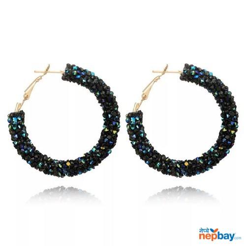 Faux Crystal Studded Korean Style Hoop Earrings (BlackBlue)