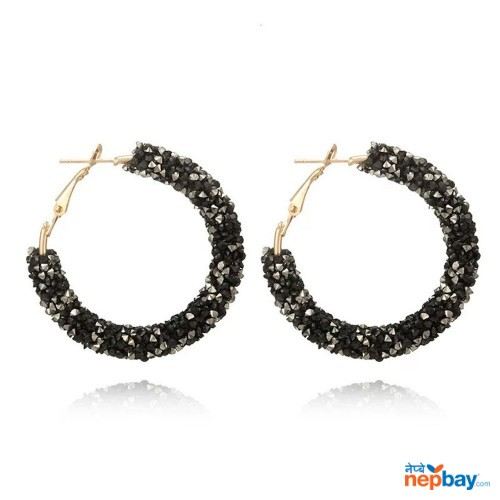 Faux Crystal Studded Korean Style Hoop Earrings (BlackWhite)