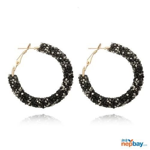 Faux Crystal Studded Korean Style Hoop Earrings (BlackWhite)