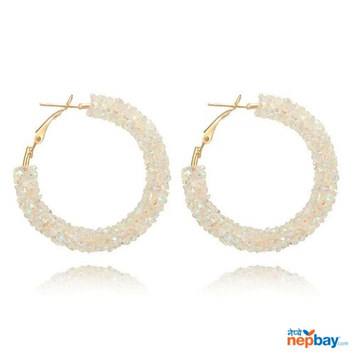Faux Crystal Studded Korean Style Hoop Earrings (White)