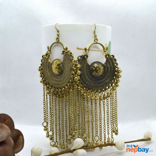 Rustic Gold Toned Ball Drop Tasseled Chandbali Earrings