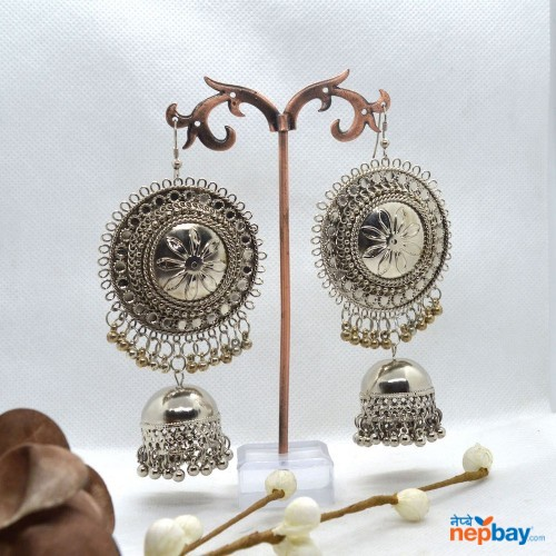 Silver Lightweight Round Statement Pinjada Drop Earrings
