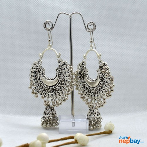 Silver Chandbali Pinjada Drop Earrings