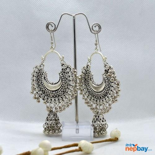 Silver Chandbali Pinjada Drop Earrings