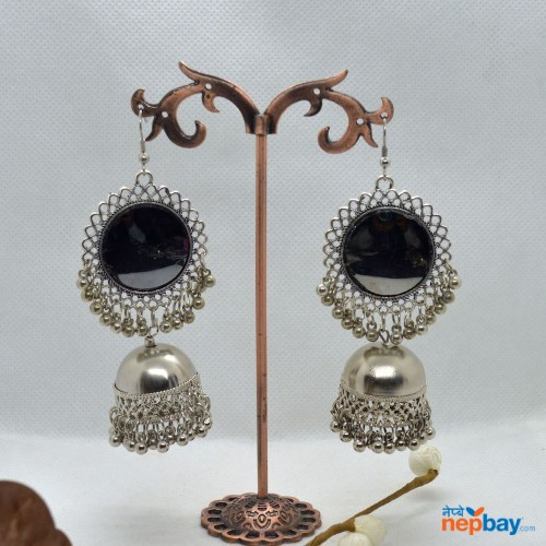 Mirror Adorned Silver Pinjada Drop Earrings