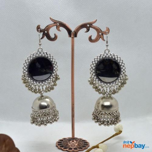 Mirror Adorned Silver Pinjada Drop Earrings