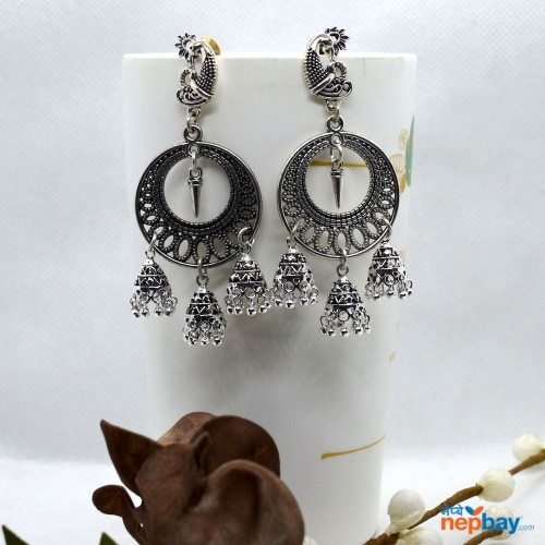Oxidized Silver Toned Peacock Top Style Round Pinjada Drop Earrings