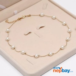 Golden/White Simulated Pearl Beaded Minimalist Necklace with Adjustable Chain