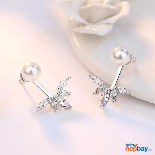 Simulated Pearl Double Sided Rhinestone Hanging Ear Studs