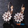 CZ Stone Studded Flower Designed Lever Back Earrings (RoseGold)
