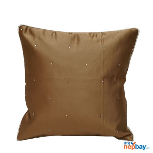 "16"" x 16"" White Spotted Tan Brown Cushion Cover 5 Pcs"