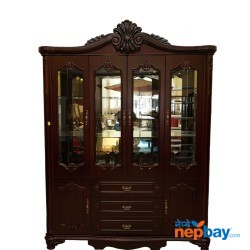 """Wooden Large Carved Showcase Cupboard With Multiple Door (5'3"""" x 1'5"""" x 7'5"""")"""