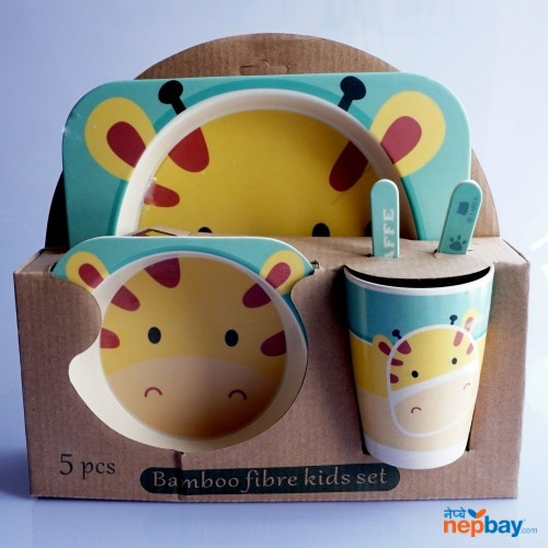 5 Pieces Bamboo Kids Plate Meal Set Dinner Plate for Children